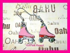 Pink Roller Skates Disco 70's Funky Retro Silver Plated Dangle Earrings USA MADE