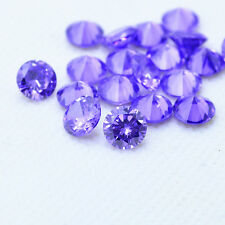 Round CUT Amethyst Cubic Zirconia CZ Loose Stone Lot 2 2.5 3 4 5 6 7 8 9 10 12mm