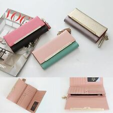 Genuine Leather Long Trifold Wallet Purse Holder Clutch Bag TwoTone Diamond Gift