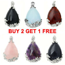 Women Flower Teardrop Gemstone Chakra Healing Bead Pendant For Necklace Fashion