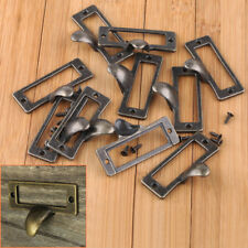 10Pcs Antique Brass Drawer Label Pull Cabinet Frame Handle File Name Card Holder
