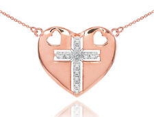 14K Rose Gold Heart Cross Diamond Pendant Necklace Chain
