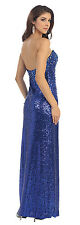 Strapless Fully Beaded Form Fitting Sequins Sexy Slit Prom Dress Formal Sexy