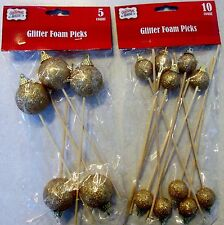 New Gold glitter Christmas ornament floral plant picks