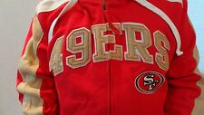 NWT Men's San Francisco 49ers Red Stitched Appliqued Full-Zip Hooded Sweatshirt