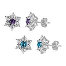 Sterling Silver 925 Amethyst or Blue Topaz and Lab Created White Sapphire Studs