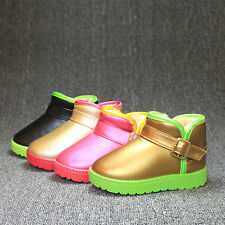 New Boys Girls Leather Baby Sneakers Kids Warm Causal Loafer Boots Shoes LG61