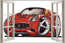 Huge 3D Koolart Window view Ferrari California Wall Sticker Poster 2573