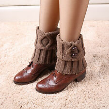 Cool Style Women Button Crochet Knit Boot Sock Toppers Cuffs Shoes Cover Gifts