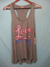 "NWT Juicy Couture Gray Womens Racer Back Tank Top American Flag ""  Love 74  """