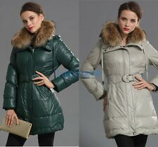 New Womens Thicken PU Leather Womens Jacket Winter Hooded Warm Down Coat Outwear