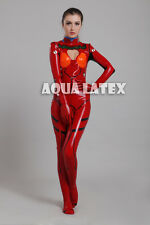 Sexy Shikinami Asuka Langley EVA Rubber Latex Catsuit with Breasts Opening Cut