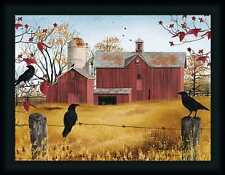 Autumn Gold Billy Jacobs Red Barn Black Crows 18x24 Framed Wall Art Print