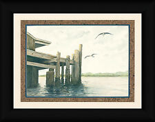 Dock on the Bay Morgan D 12x16 Seagull Lake Framed Art Print Picture Wall Decor