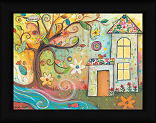 Happiness Leah Pruitt 12x16 Whimsical Tree Collage Framed Art Print Picture