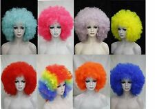 Afro funs wig circus clown fro curly unisex halloween adult costume wig 10 color