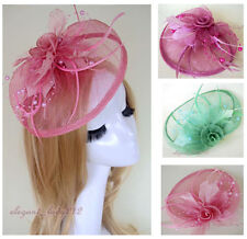 Wedding Derby Sinamay Fascinator Races Flower Feather Hair Clip Accessory Hats