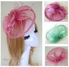 Handmade Wedding Races Sinamay Fascinator Church Derby Flower Feather Mini Hats