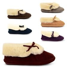 NEW LADIES LUXURY SLIPPERS MULE WOMENS COSY FURRY LINED BOOTIES ANKLE SHOES SIZE