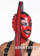 Cinched Ponytail Cat Mask Rubber Latex Hood with Corset Lacing Long Latex Hair