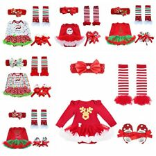 Newborn Baby Girl Christmas Deer Santa Claus Tutu Dress Up Romper Outfit Costume