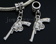 6/30/100pcs Tibetan Silver pistol Bulk Lots Dangle Jewelry Craft Charms Bracelet