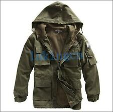 Men's outdoor coat military Jacket winter warm fleece outerwear Army Green Black