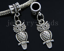 6/30/100pcs Tibetan Silver owl Bulk Lots Dangle Jewelry Charms Bracelet DIY 33mm