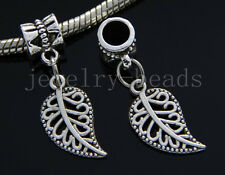 6/30/100pcs Tibetan Silver leaves Bulk Lots Dangle Jewelry Craft Charms Bracelet