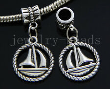 6/30/100pcs Tibetan Silver Peace boat Bulk Lots Dangle Jewelry Charms Bracelet