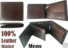 Genuine Mens Leather BROWN Wallet Real Soft Credit Card Holder Bifold Zip Gift B