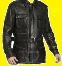 Men's German Black Naval Military Style Genuine Leather Jacket/Coat