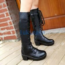 Gothic Womens Lace Ups Knee-High Boots Chunky Heels Riding Combat Boots Shoes Sz
