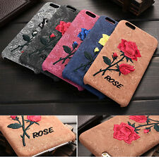 Luxury 3D Embroidery Rose Flower Hard Plastic Case Cover For iPhone 6/ 6S Plus