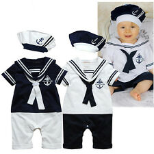 Baby  Boys Sailor White Navy Romper With Hat Suit BabyGrow Outfit Sets 0-18 M