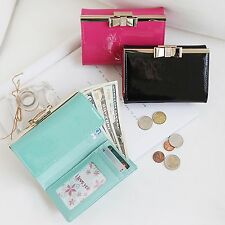 Lovely Bow Medium Trifold Wallet Coin Purse Card Holder Genuine Patent Leather