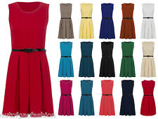 WOMENS SHORT PARTY SKATER DRESS LADIES SLEEVELESS BELTED FLARED TOP PLUS SIZE