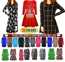 Womens Ladies Sleeve Stretch A Line Skater Flared Swing Dress Top Size 4-26 Swng
