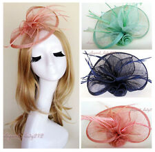 Handmade Sinamay Flower Fascinator with Feather Hair Clip Wedding Races Derby
