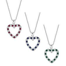 "Sterling Silver 925 Lab Created Precious Gemstone Heart Pendant with 18"" Chain"