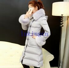 Winter Big Fox Fur Collar Womens Duck Down Coat Thicken Long Warm Outwear Jacket