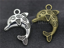 6/30/150pcs Tibetan Silver Beautiful dolphins Jewelry Charms Pendant 30x21mm New
