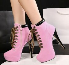 14 CM Slim High Heels Women' Shoes Platforms Ankle Boots Lace-up Synthetic Suede