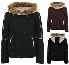 Womens Hooded Jacket Fur Quilted Ladies Button Zip Padded Belted Winter Coat G7
