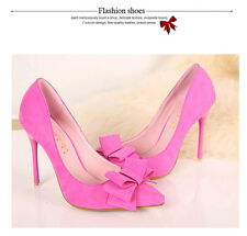 Elegant Women's Pointed Toe OL Shoes Fashion Suede Bowknot High Heel Pumps Shoes