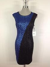 Calvin Klein NEW With Tag Black and Royal Blue Sequenced Cocktail Dress