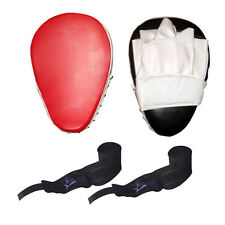 Focus Pads New British style Shaped Target Mitts Red/Black color wraps set