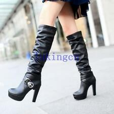 womens ruched long boots high heels knee high boots platform buckle winter shoes