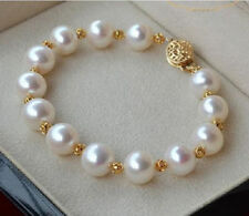 HUGE NATURAL 11-12MM ROUND SOUTH SEA GENUINE WHITE PEARL BRACELET 14K GOLD CLASP