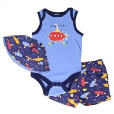Buster Brown NEW Baby Boys Onesie Short Set Outfit w/ Hat Sizes 0-3, 3-6, 6-9